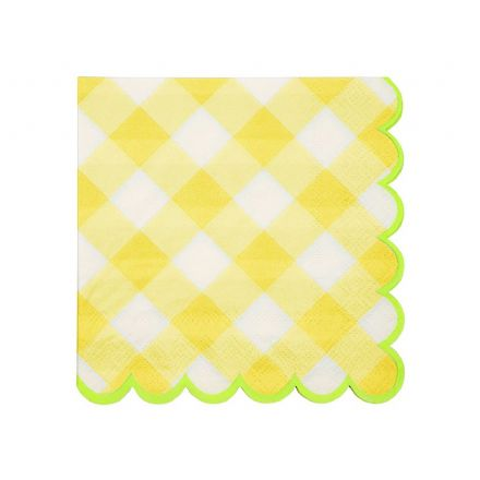 Yellow Gingham Paper Napkins - Small